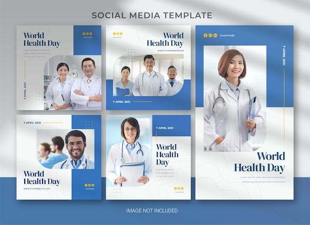 Wereldgezondheidsdag sociale mediasjabloon
