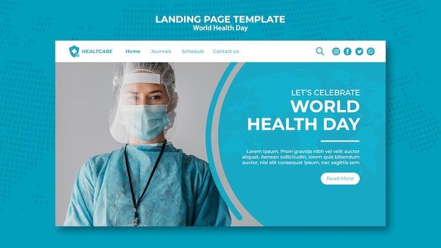 Wereldgezondheidsdag webpagina sjabloon