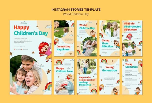 Wereldkinderen dag instagram verhalen sjabloon