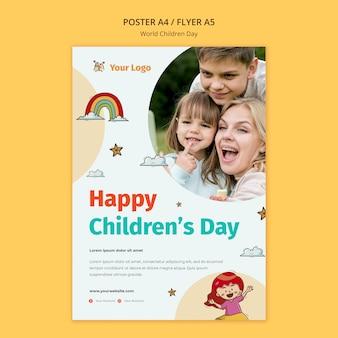 Wereldkinderen dag poster sjabloon