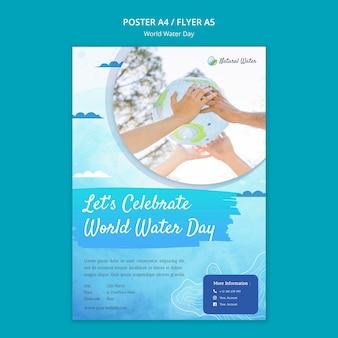Wereldwaterdag afdruksjabloon