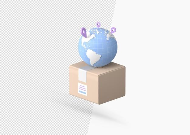 Wereldwijd bezorgsysteem met 3d-rendering concept Premium Psd