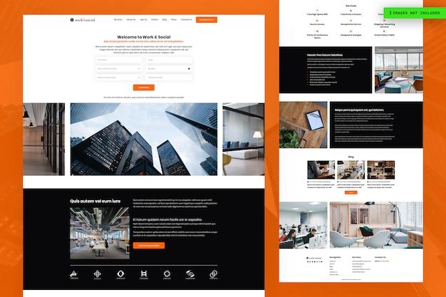 Werk- en sociale website-paginaontwerp