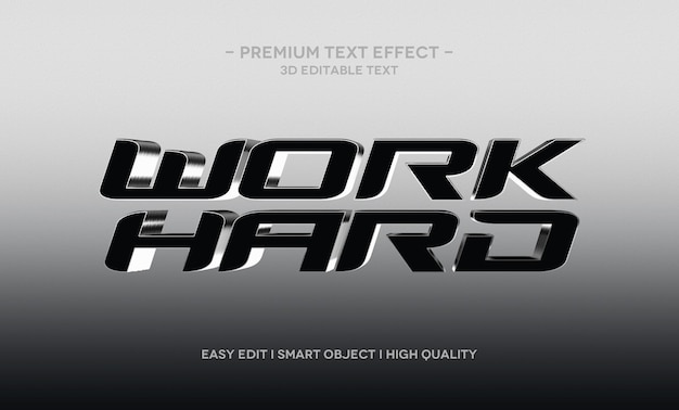 Werk hard 3d-teksteffectsjabloon