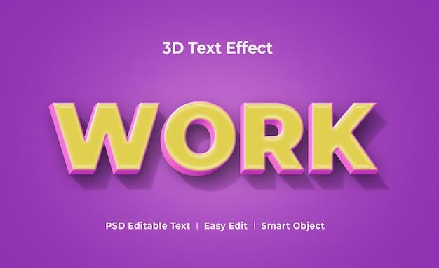Werk mockupsjabloon met 3d-teksteffect