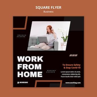 Werk vanuit huis vierkante flyer