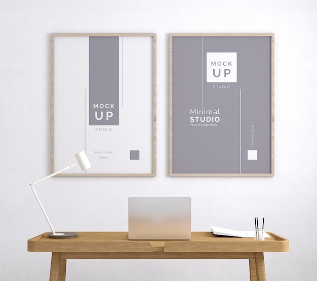 Werkplek met minimale framemodellen Gratis Psd