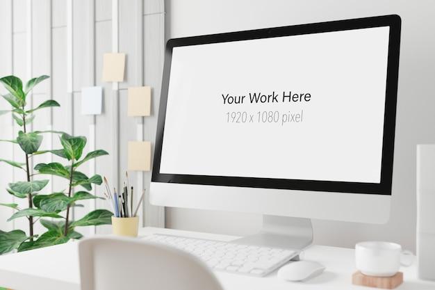 Werkruimte met mockupscherm van laptopcomputer in 3d-weergave