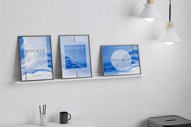 Werkruimte met verschillende framemodellen