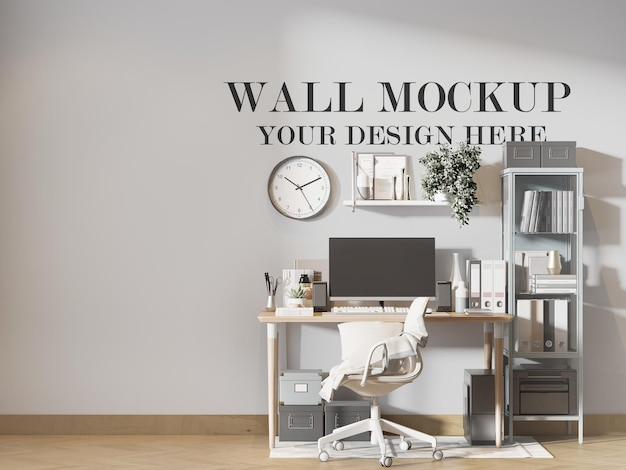 Werkruimte muur achtergrond in 3d-rendering