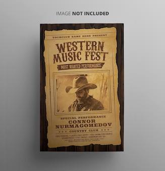 Westerse muziek promotionele folder sjabloon