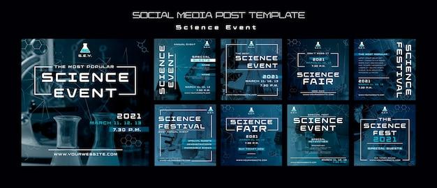 Wetenschap evenement instagram posts sjabloon