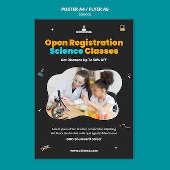 Wetenschap klassen poster sjabloon