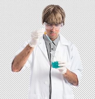 Wetenschapper die een reageerbuis analyseert