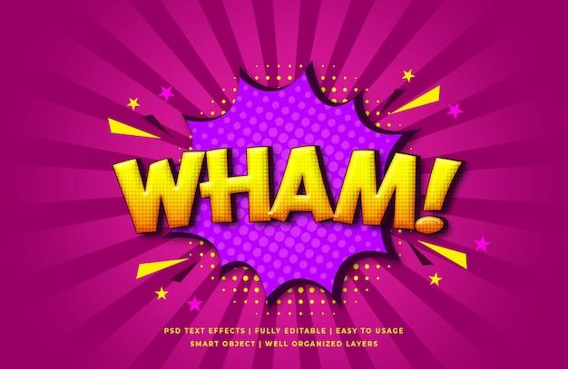 Wham comic discurso efecto de estilo de texto en 3d