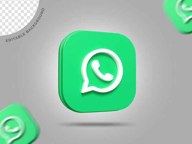 Whatsapp 3d logo social media 3d render achtergrond bewerkbaar pictogram