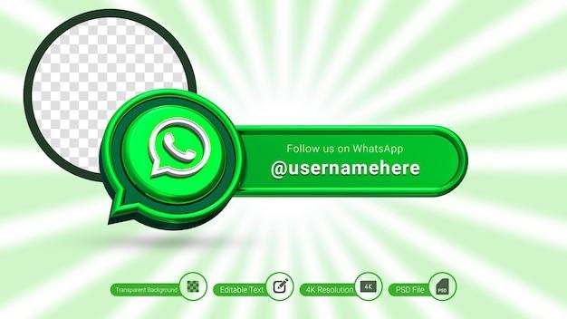 Whatsapp 3d-rendering volg ons label geïsoleerd premium psd social media bannerpictogram
