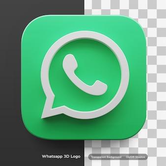 Whatsapp apps-logo in 3d-ontwerpactief in grote stijl geïsoleerd