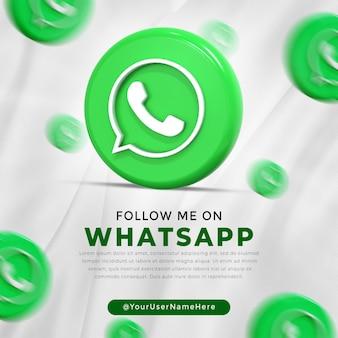 Whatsapp glanzend logo en berichtsjabloon voor sociale media