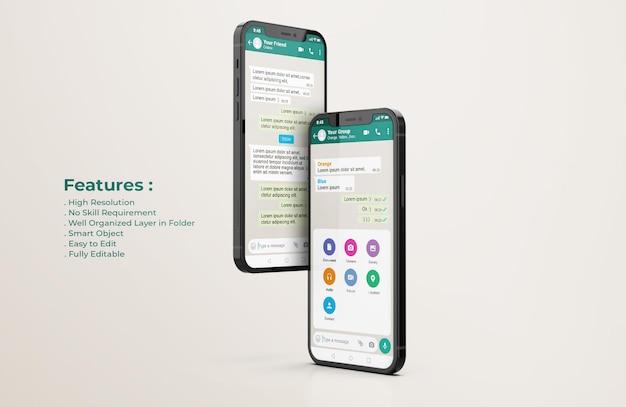 Whatsapp-interfacesjabloon op mockup voor mobiele telefoons