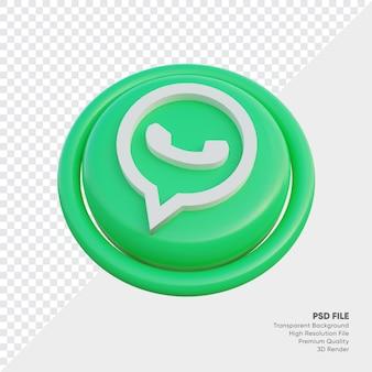 Whatsapp isometrische 3d-stijl logo concept icoon in ronde geïsoleerd Premium Psd
