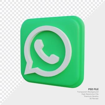 Whatsapp isometrische 3d-stijl logo concept pictogram in ronde hoek vierkant geïsoleerd Premium Psd