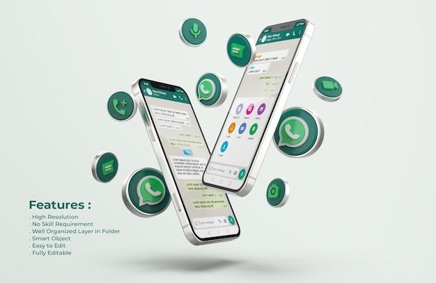 Whatsapp op zilveren mobiele telefoonmodel Premium Psd