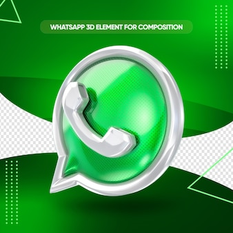 Whatsapp-pictogram 3d render voor compositie