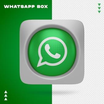 Whatsapp-pictogram in vak in 3d-rendering geïsoleerd