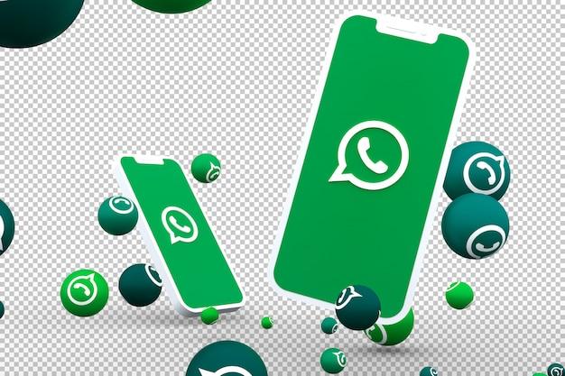 Whatsapp-pictogram op het scherm van smartphone of mobiel en whatsapp-reacties bellen