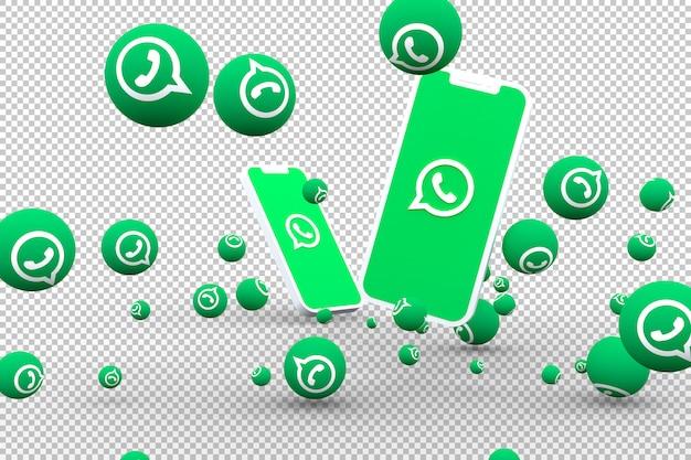 Whatsapp-pictogram op schermsmartphone of mobiele en whatsapp-reacties roepen op met geïsoleerde achtergrond