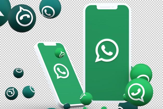Whatsapp-pictogram op smartphones en whatsapp-reacties op het scherm