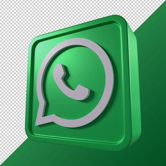 Whatsapp transparant 3d vierkant social media-logo