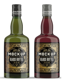 Whisky glazen fles mockup geïsoleerd