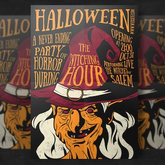 Whitch halloween party flyer template
