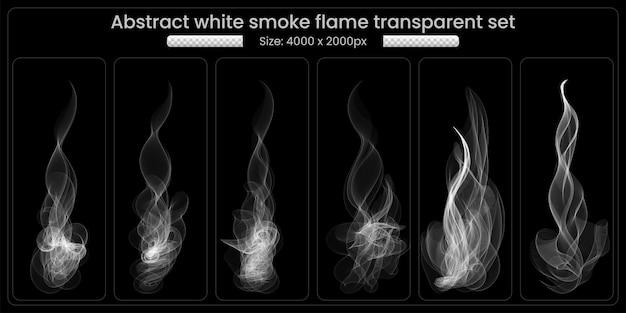White smoke transparant set op zwarte achtergrond