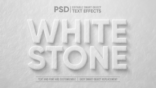 White stone 3d effetto di testo modificabile