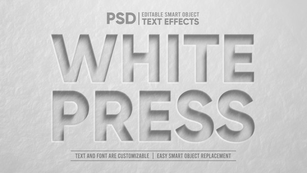 White stone press effetto testo modificabile 3d smart object