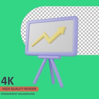 Whiteboard 3d onderwijs pictogram illustratie hoge kwaliteit render