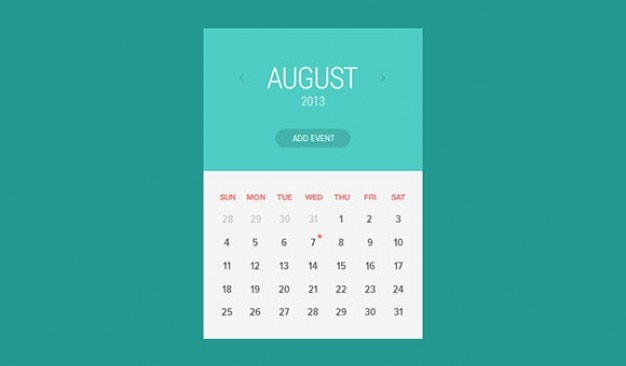 Widget di stile piatto calendario