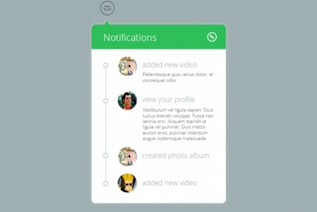 Widget de notificación verde en estilo plano