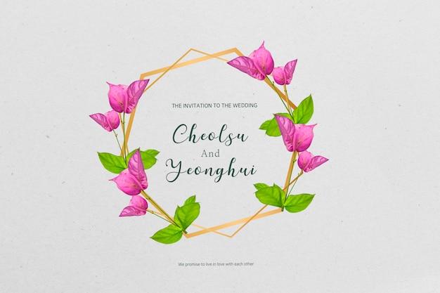 Wieden uitnodiging versierd met bloemen