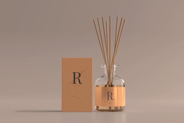 Wierook luchtverfrisser rietverspreider glazen fles met doosmodel