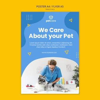 Wij geven om uw huisdier veterinaire poster sjabloon