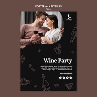 Wijn flyer sjabloonontwerp
