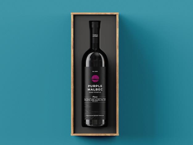 Wijn geschenkdoos mockup sjabloon
