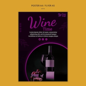 Wijn promotie poster sjabloon