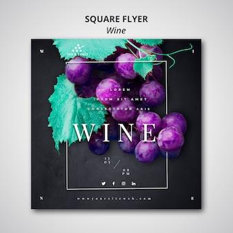 Wijn vierkante flyer sjabloonontwerp