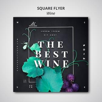 Wijn vierkante flyer sjabloonstijl