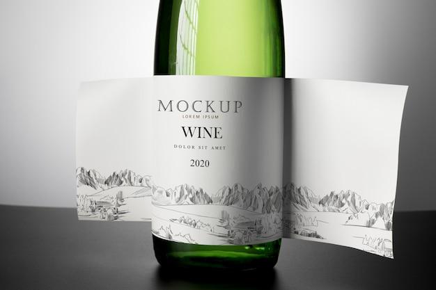 Wijnfles etiket mock up close-up